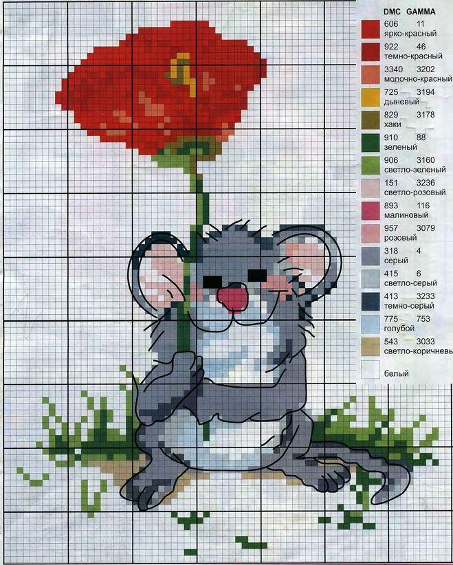 Схема вышывки миш в красном