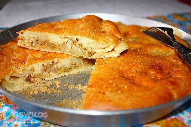 Пирог с капустой курицей фото рецепт