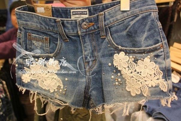 Как сделать джинсовые шорты с кружевом своими руками 2 64
