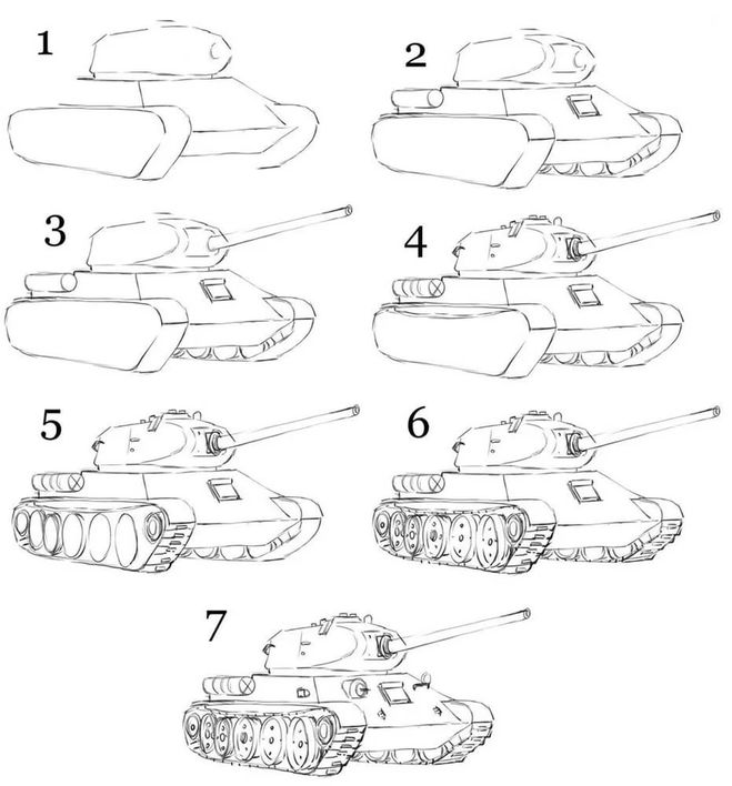 Рисунок карандашом поэтапно танк