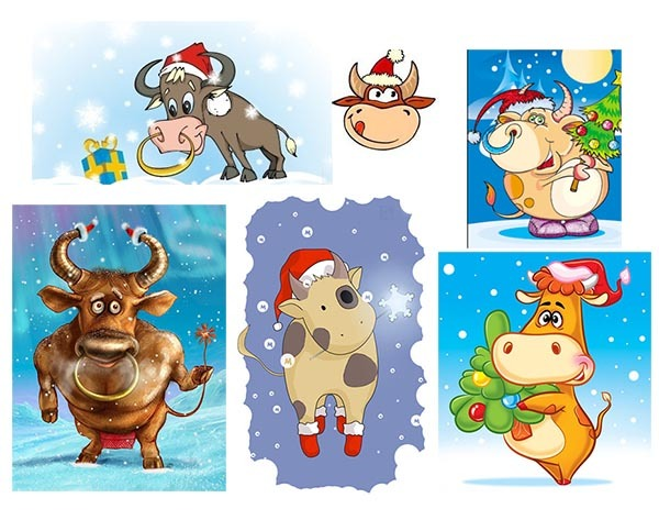 корова бык рисунок Новый год