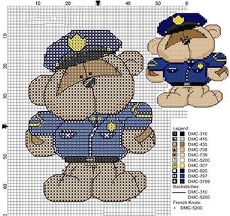 Мишка - военный схема вышивки крестиком на 23 февраля