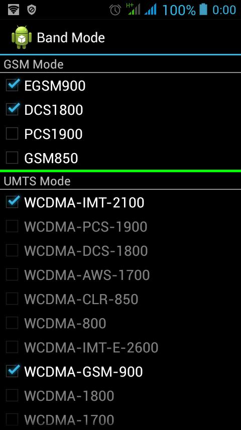 Частоты 2G и 3G в инженерном меню