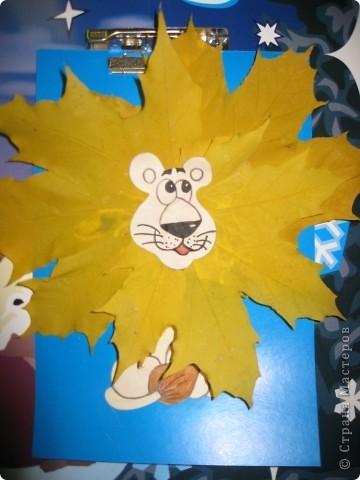 Поделки львенок из листьев