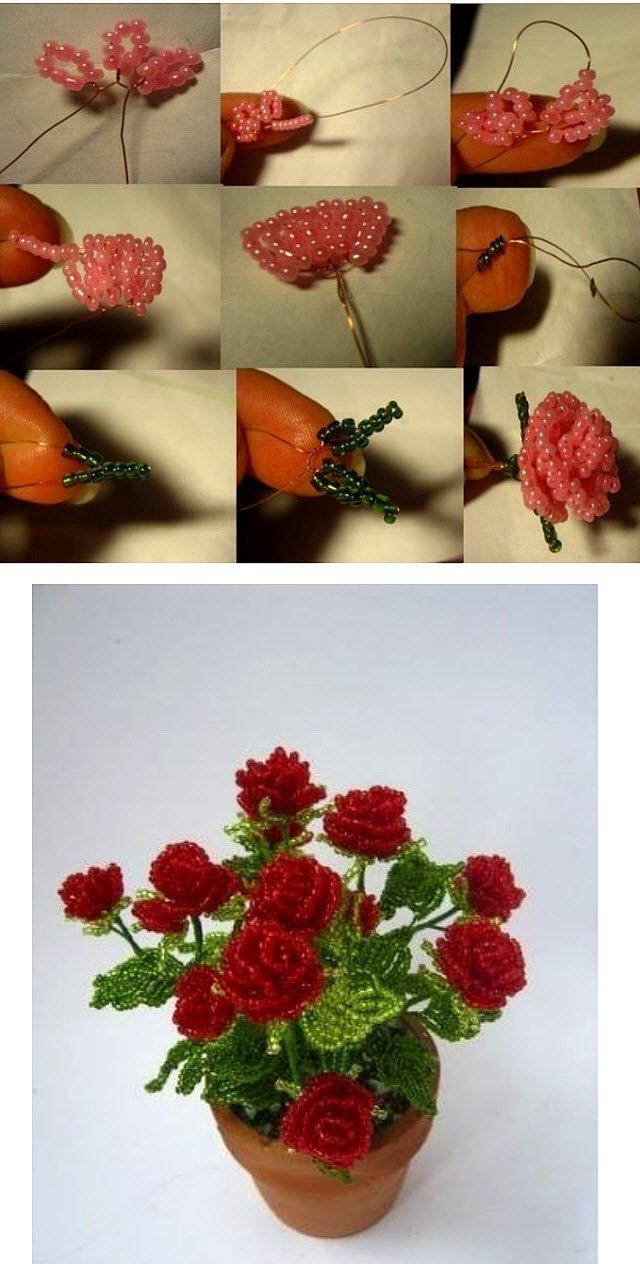 Цветы из бисера с пошаговое