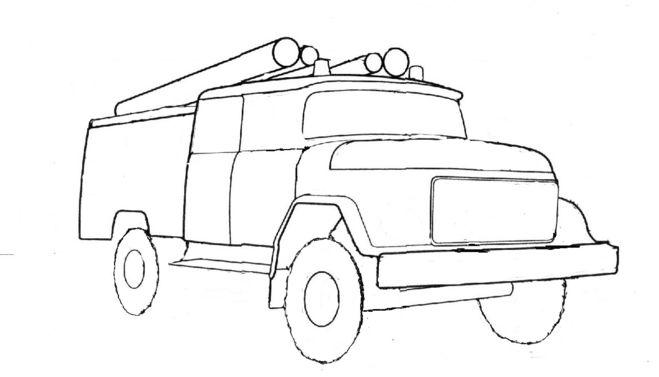 пожарная машина карандашом поэтапно
