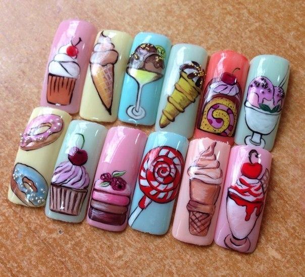 Мороженое на ногтях маникюр фото