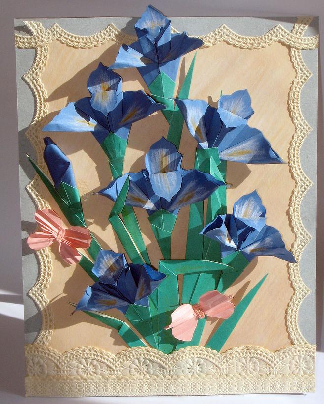 Оригами на открытку цветы 97