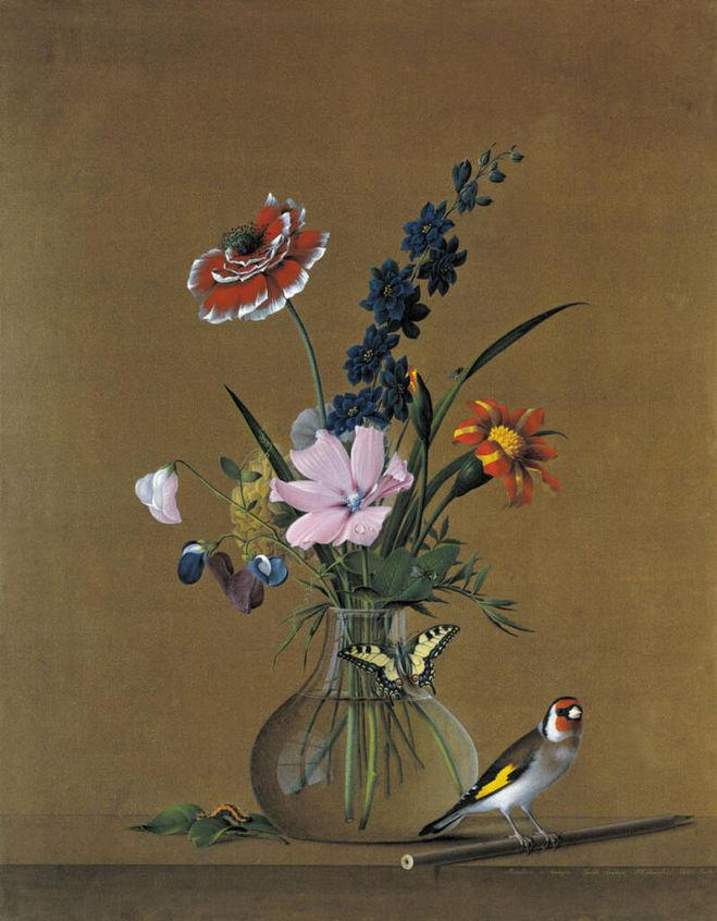 Толстой Букет цветов, бабочка и птичка