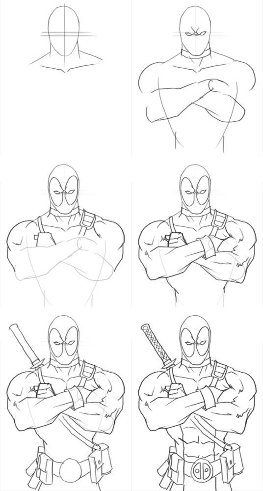 Как нарисовать поэтапно дэдпул