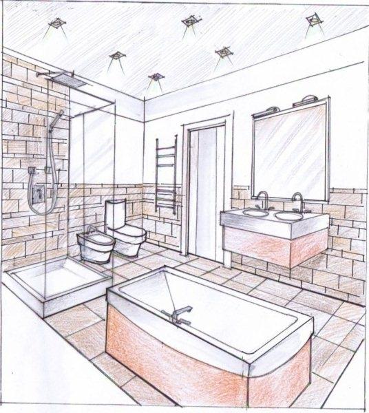 Картинка ванной комнаты карандашом дизайн ванной комнаты с зеленой сантехникой