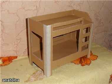 Как сделать двухъярусную кровать для кукол из картона