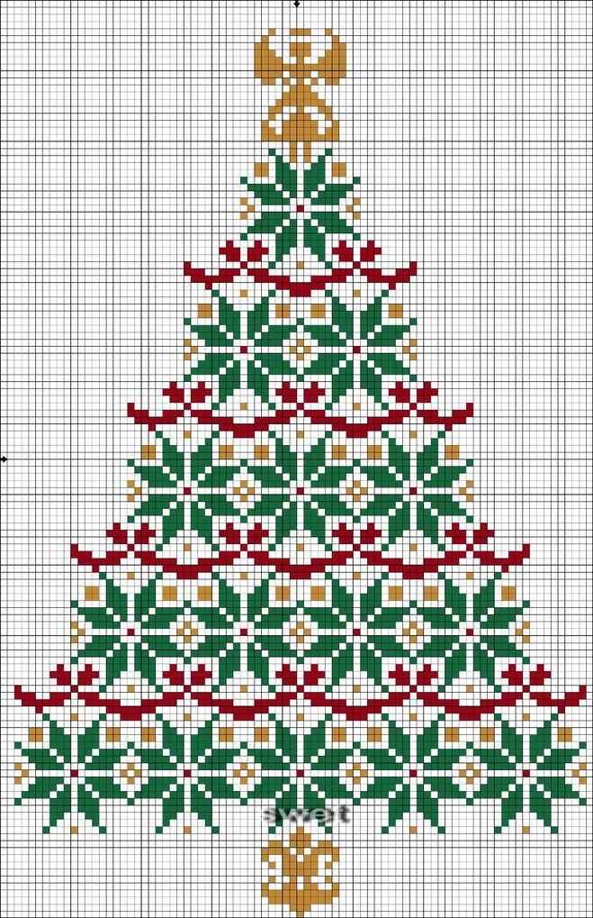 Новогодняя схема вышивки елка