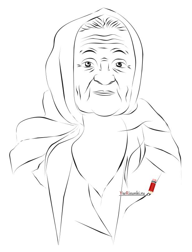 Рисуем бабушку карандашом поэтапно 87