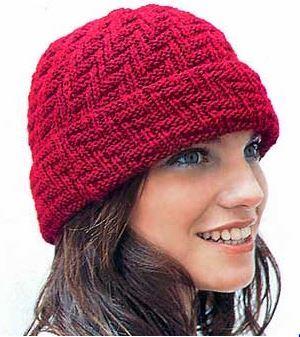 как связать женскую шапочку с отворотом