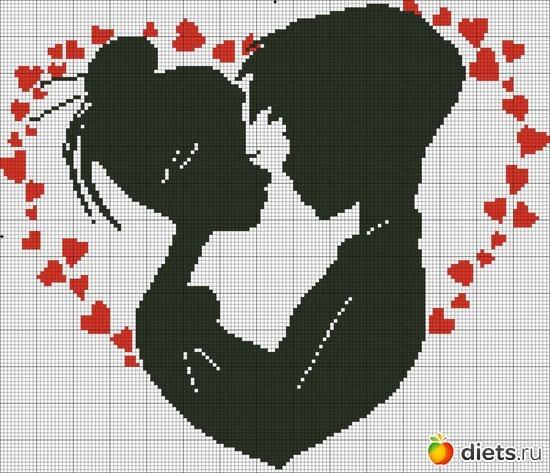 Монохромная вышивка влюбленная пара крестом схемы