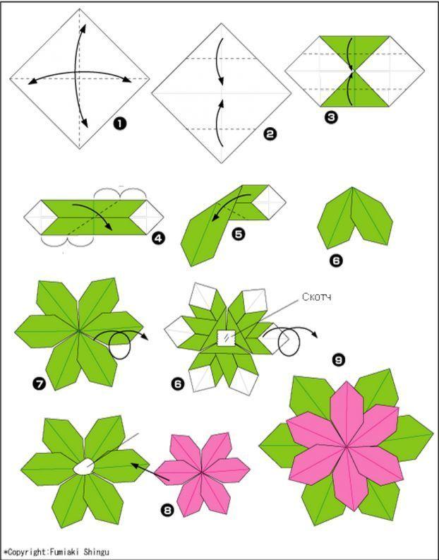 цветы из бумаги, оригами