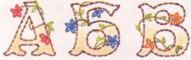 Русский алфавит   вышивка простыми декоративными швами