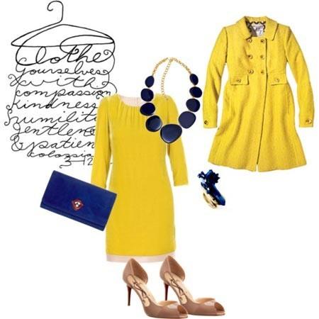Как собрать полный образ к желтому шифоновому платью