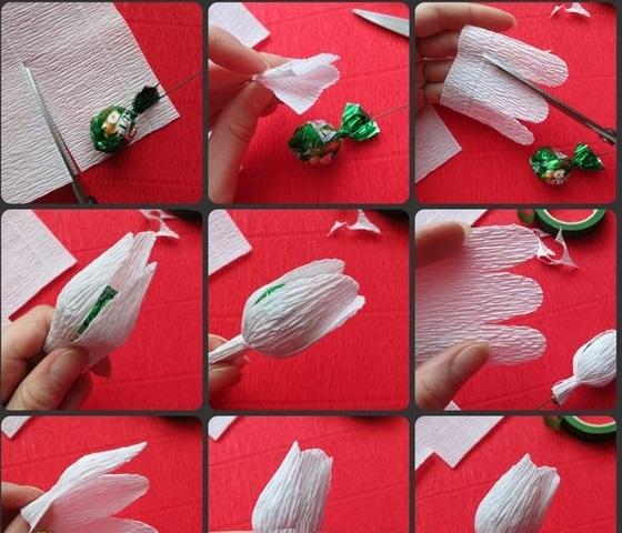 Тюльпаны из гофрированной бумаги своими руками пошаговое фото