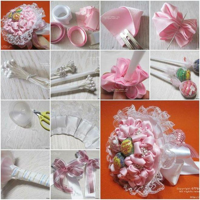 Как делать букеты из конфет своими руками пошаговое фото 45
