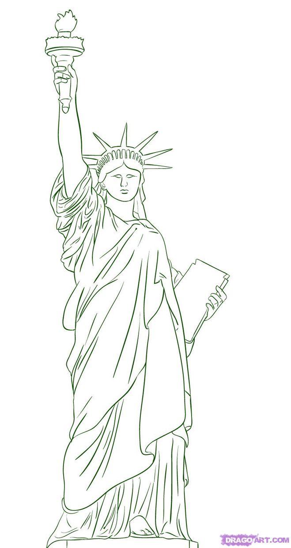 Как поэтапно нарисовать статую свободы карандашом поэтапно
