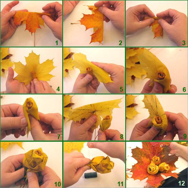 Как сделать из листьев розу фото 773