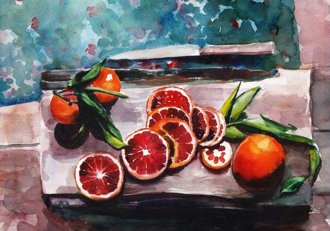 Апельсины в разрезе рисунок