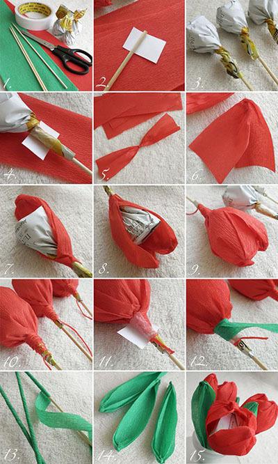 букет тюльпанов из конфет 8 марта мастер-класс