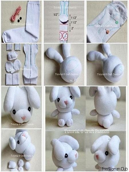 Как сделать зайца из носка поэтапно