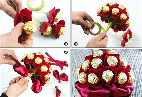 Букеты из конфет своими руками с пошаговым