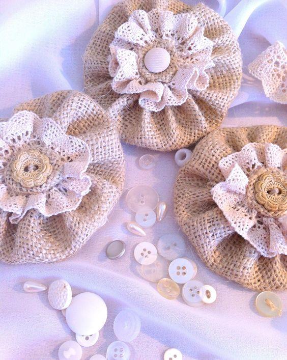 цветы своими руками из мешковины