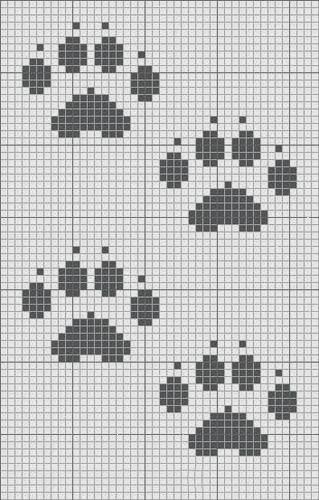 Схема вышивки «лапа медведя чб» - Вышивка крестом