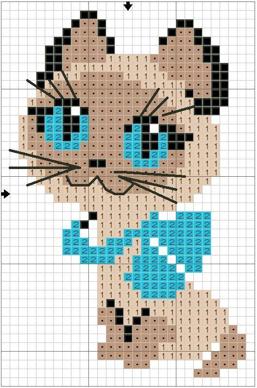 Схемы для вышивки крестом детские кошки