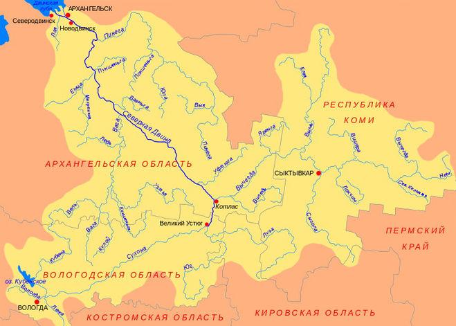 Находится исток реки северная двина