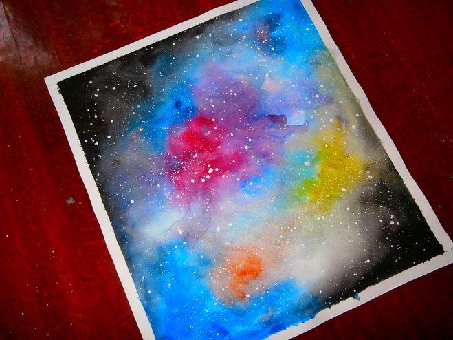 Как сделать краской космос