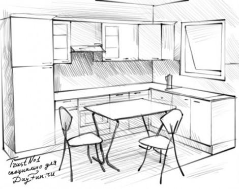 Как нарисовать кухню карандашом поэтапно?