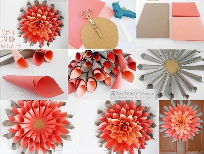 Цветок простой из бумаги своими руками пошаговое фото 99