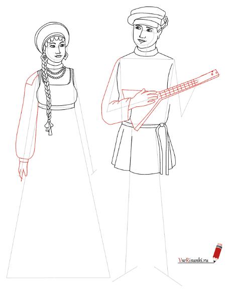 Русский народный костюм женский и мужской раскраска 32