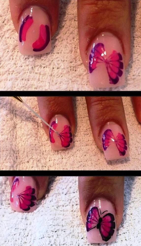 Фото пошаговых рисунков на ногтях