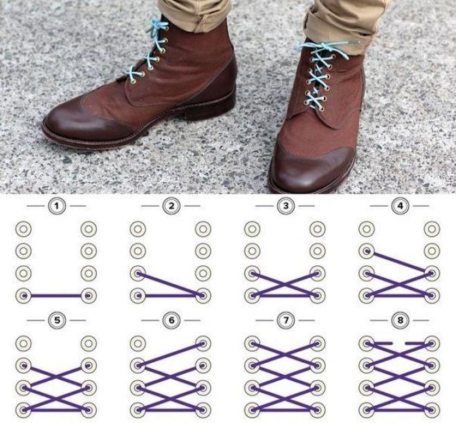 как завязывать шнурки, оригинальный способ, красивый способ