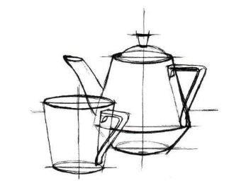 Как нарисовать чайник карандашом поэтапно