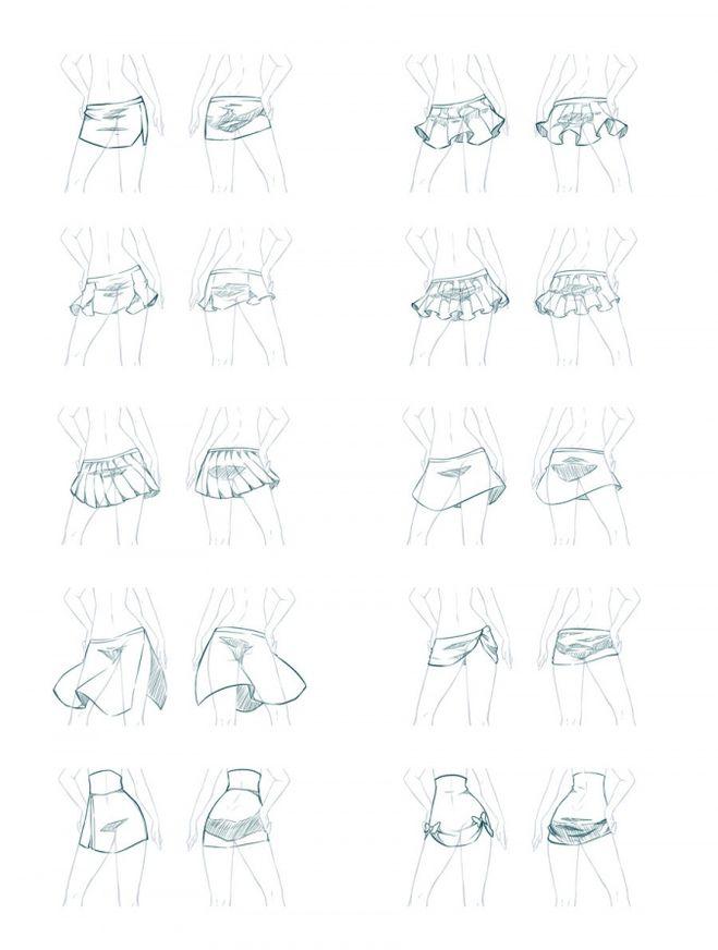 Нарисовать юбки поэтапно