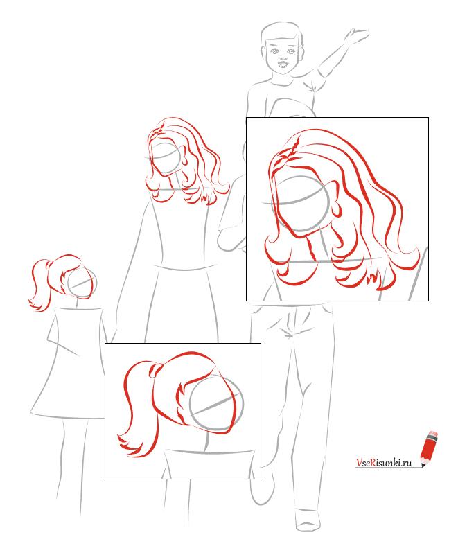 Рисуем мою семью поэтапно