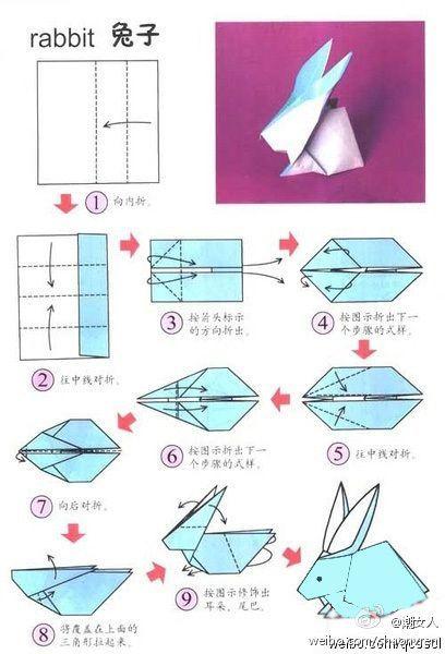 Как сделать из бумаги оригами зайчика