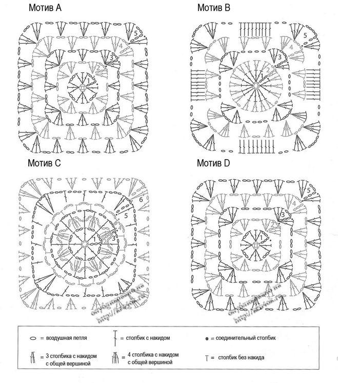 Пледы крючком схемы и описание из мотивов