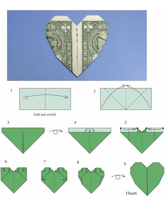 оригами из денег схема