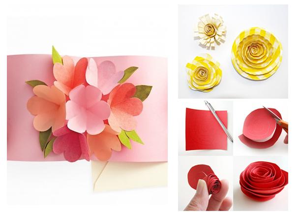 открытка с аппликацией цветами