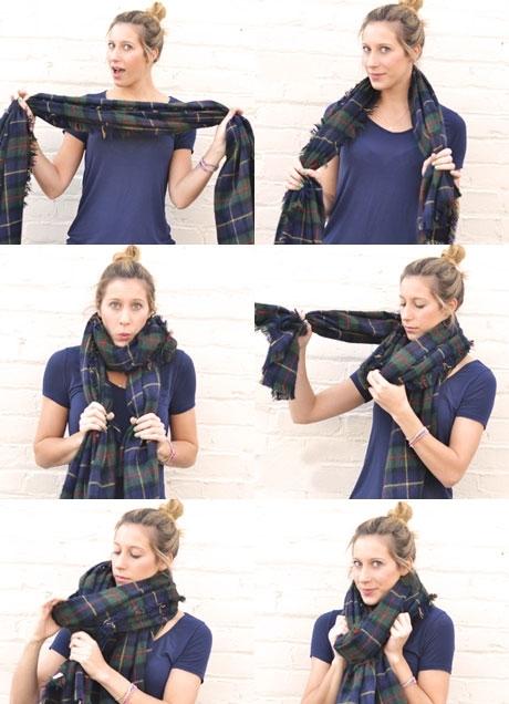 Красиво завязать шарф поверх куртки фото