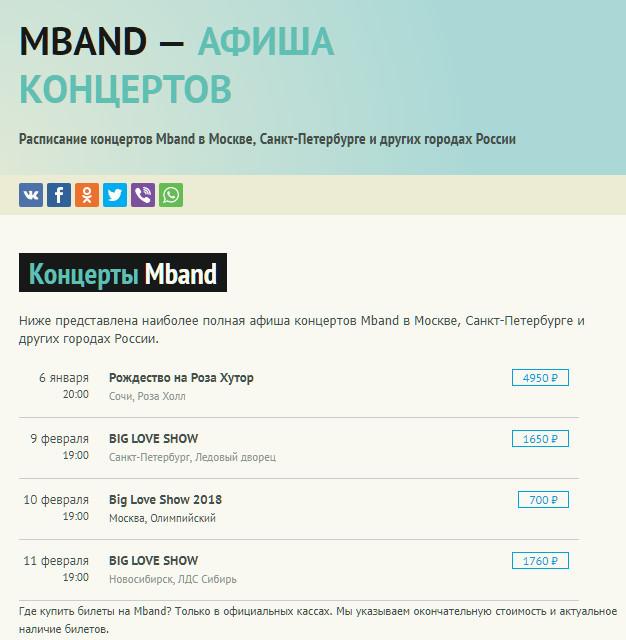 гастрольный график группы MBAND на 2018 год